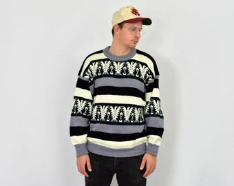 Striped sweater vintage 80s beige gray eagle Norwegian geometric pullover patterned retro mens L Large