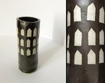 Ceramic Vase - Brown Houses