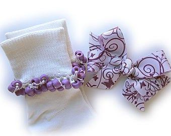 Kathy's Beaded Socks - Lavender Swirl socks and Hair Bow, girls socks, purple socks, school socks, lavender socks, swirl socks