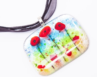 Poppy fused glass pendant necklace poppies dichroic flower remembrance xmas christmas secret santa stocking filler gift present gardener mom