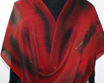 Silk-Wool Hand Painted Scarf Red Merlot Red Black Warm Soft Shawl RUST REDS, by Silk Scarves Colorado, Select Your SIZE! Birthday Gift.