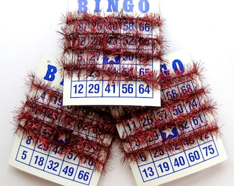 Gorgeous Deep Red Tinsel Garland on Vintage Bingo Card, 36 Inches
