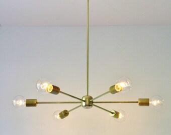 Sputnik Chandelier, Brass Chandelier, Mid Century Modern Pendant Lighting Fixture, 6 Arms, Large Hanging Ceiling Mount Lamp