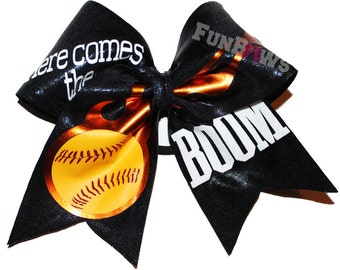 Here Comes the BOOM ! Awesome Original Softball Baseball or other sport hairbow by FunBows