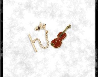 Gold & Cloisonné Violin Tie Tack