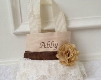 Burlap Flower Girl Purse, Flower Girl Gift, Birthday Gift, Burlap Wedding