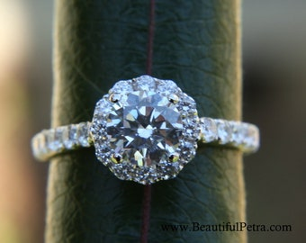 Diamond Engagement Ring - 14k CUSTOM Made - 1.12 carat  Round - Flower Halo - Pave - Antique Style - Bp0014