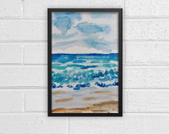Abstract Beach Watercolor Print