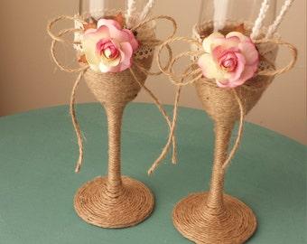 Romantic Champagne  Wedding Glasses  Chic Toasting glasses Rustic roseToasting Flutes Bride and Groom  Glasses