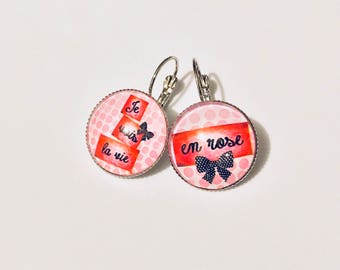 Earrings cabochon stud earring - I see life in pink