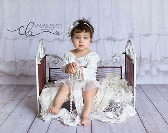 newborn, 6 month an 12 month romper and headband set. Perfect for her photoshoot. All handmade.