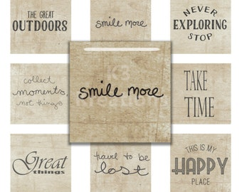 Inspirational Sayings 1x1 inch - Digital Collage Sheet Printable Instant Download  for Glass, Resin Square Pendants & Magnets sq3