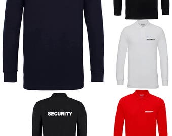 Security Front & Back Printed Long Sleeve Polo Shirts