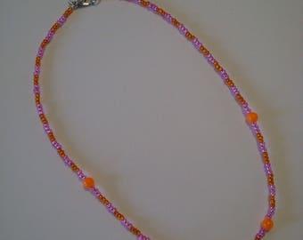 Children necklace, pink and orange