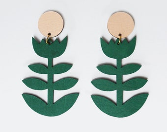 Green and Pink Laser Cut Scandi Style Statement Flower Earrings