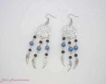 """Earrings """"Dreamcatcher"""" blue / black"""