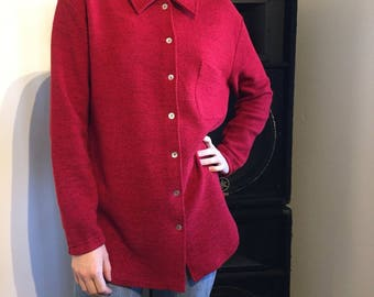 Vintage preloved Cosy thick red collared blouse shirt