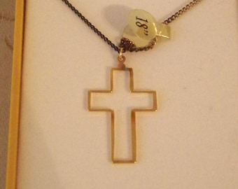 """Jeweline 18K Gold Cross Necklace Electroplated Gold Outlined Bordered Style 18"""" Chain"""