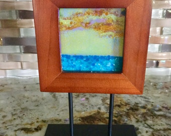Sunrise over the Ocean Mini Tabletop Art, Fused Art Glass, Handmade, Dichroic Glass, Shifts  Colors from Yellow to Blue Sky