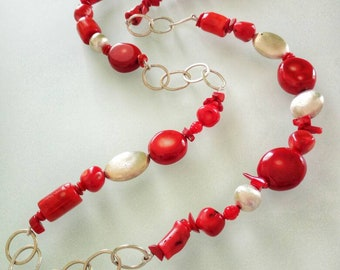 Red Bamboo coral necklace and long satin Silver