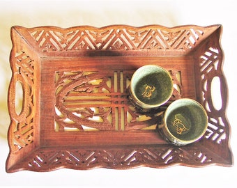 Vintage Wood Serving Tray - Carved Indian Rosewood Cut-Out Style Display / Vanity / Tea Tray, Handcrafted Rectangle Square Shape Wooden 16""