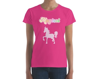Magical Unicorn T Shirt Womens Teens Pastel Pretty Cute Horse Gift TShirt Graphic Tee Mom Yoga Workout Unicorn Squad Birthday Shirt