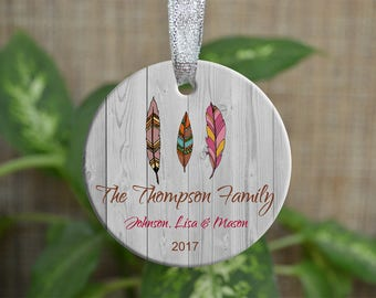 Personalized Christmas Ornament, Our First Christmas as a family ornament, Custom Christmas Ornament, Feather ornament, Christmas gift. o066