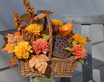 POD FLORAL ARRANGEMENT Rusts Orange and Yellow Flowers Pod and Fruit