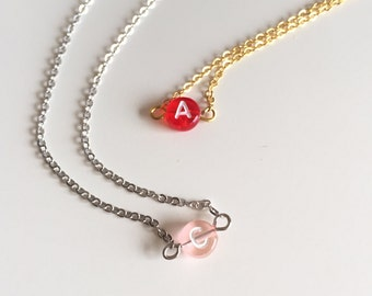 Initial necklace - Personalized necklace - Initial bead