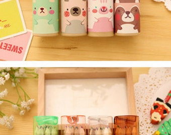 Colour Pencil - Mini Bear Colour Pencil Set of 12 | Kawaii Stationery | Back to School | Office Supplies | Art and Craft