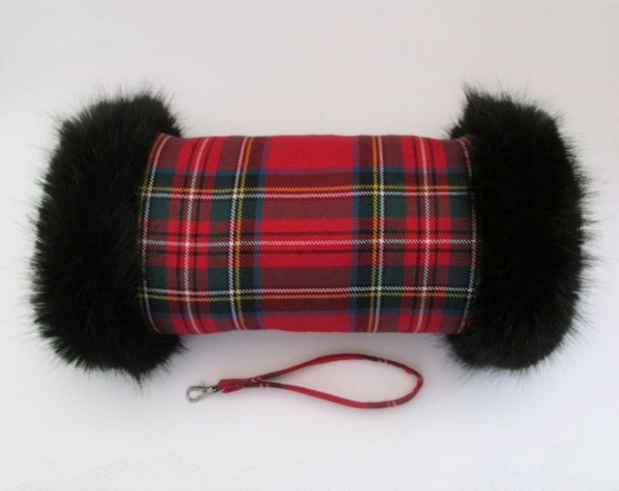 Royal Stewart 100% Wool Tartan Hand Muff with Black Faux Fur Trim