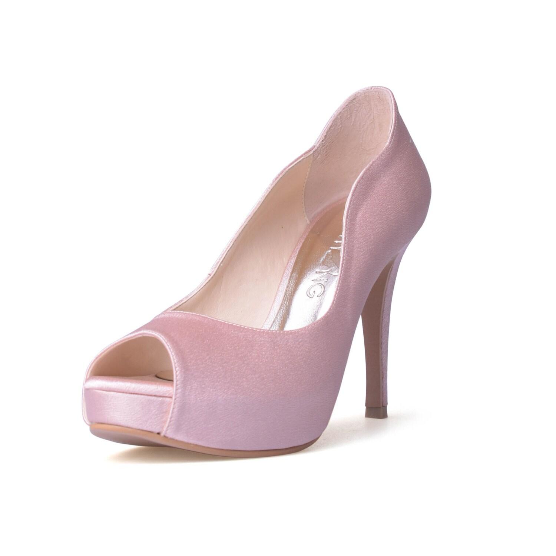 Nude Blush Satin Wedding Shoes Nude Pink Satin Evening Heels