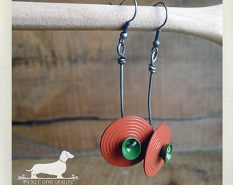 LAST ONE! Orbit. Dangle Earrings -- (Vintage-Style, Red, Coral Blue, Bright, Retro, Funky, Fun, Unique, Steampunk, Birthday Gift Under 10)
