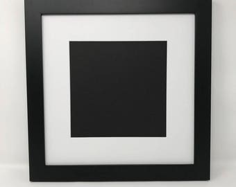 """10x10 1.25"""" Black Solid Wood Picture Frame with White Mat Cut for 6x6 Picture"""