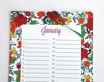 "Perpetual Calendar, 8.5x11"" Floral Print Wall Calendar or Birthday Calendar in red, green, yellow, orange, purple and pink"