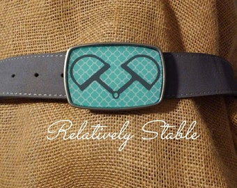 Equestrian belt buckle, snaffle bit belt buckle-fits snap belts