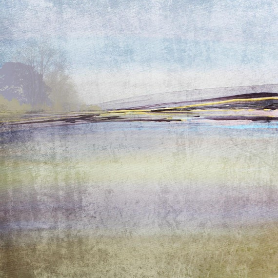 """Abstract Horizon. Huge Rustic Landscape Painting Canvas Art Print, Extra Large Blue Yellow Canvas Art Print up to 50"""" by Irena Orlov"""