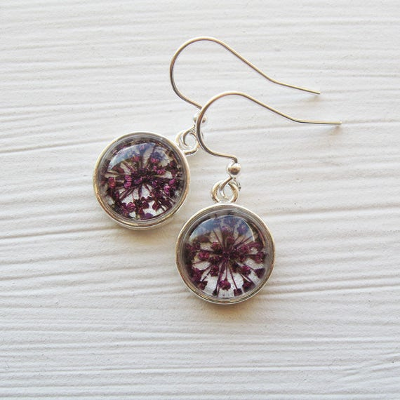 Real Pressed Flower Earrings - Tiny Round Real Queen Annes Lace Earrings - Violet and Silver