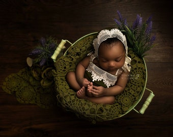 Newborn Romper - Olive Green - Lace - Jersey Knit - Photography Prop - Girls