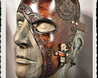 Brown leather half mask - Alchemist -