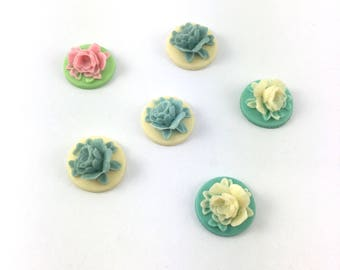Set of 6 medallions 18 mm resin rose in 3D shape
