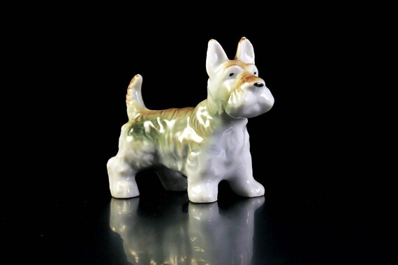 Scottish Terrier Figurine, Dog Figurine, Small, Made in Japan, Brown and White, Porcelain, High Gloss