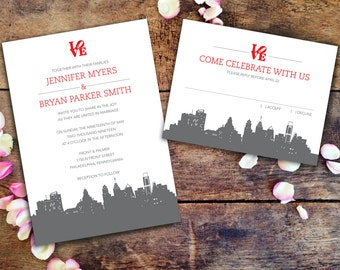 Philadelphia Skyline & Love Statue Wedding Invitation