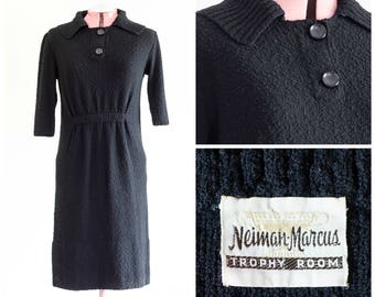 1950s black boucle sweater dress