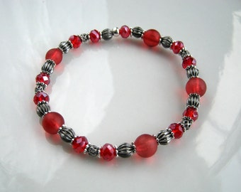 Antique Silver and Red Stretch Bracelet Cranberry Red Stacking Bracelet