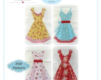 Vintage Dresses, Paper Piecing Pattern