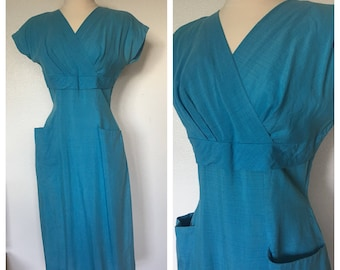 Wiggle On In / Vintage 1950s Teal Wiggle Dress / Small