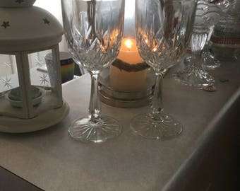 Two crystal wine glasses