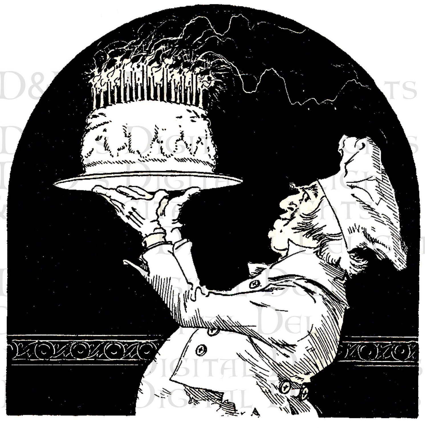 Cheery Chef With Blazing Birthday Cake Vintage Illustration