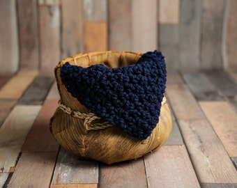 Chunky Navy Blue Baby Blanket Newborn Photography Prop